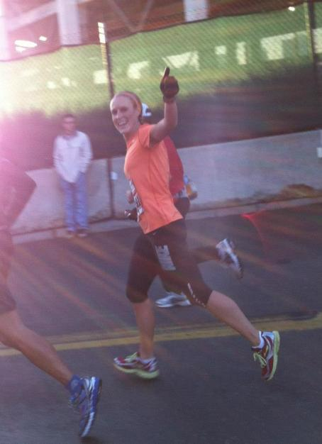 Here I am around mile 9 in my last half marathon savoring the moment.