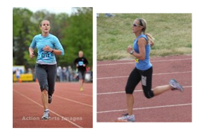Photo at left: I shuffle across the finish line, in pain,  at the Bayshore half marathon in 2011.  Photo at right: I finish the same race in 2012 in much better shape and much more confident.